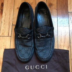 GUCCI horse-bit monogram loafers